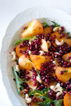 Scandi Foodie: Mizuna, persimmon and pomegranate salad with orange dressing