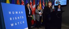 Meghan Rhoad, researcher at Human Rights a Watch, speaks in Ottawa about the her report