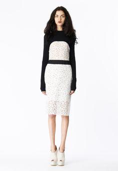 LOOK 2 White honeycomb lace sheath with black cotton poplin waistband. Black merino wool cropped sweat knit.