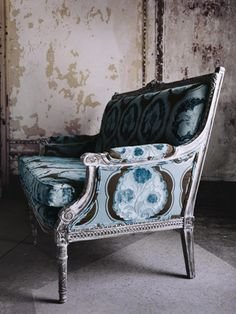 antique setee upholstered in Kimono-Bluemoon