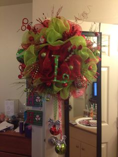 Lime green and red festive deco mesh wreath for Christmas.. $150.00, via Etsy.