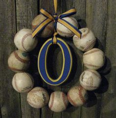 Retro Milwaukee Brewers Baseball Love Wreath - no hat or letter. $40.00, via Etsy.