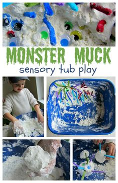 """Monster Muck"" (cornstarch and shaving cream) Sensory Tub Play (from No Time for Flash Cards)"
