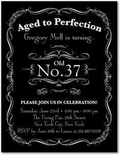 Aged to Perfection - Adult Birthday Party Invitations Postcard - Ceci New York in Black. #birthday