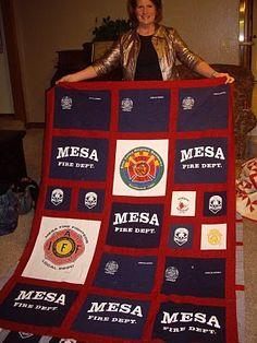 great fireman t-shirt quilt