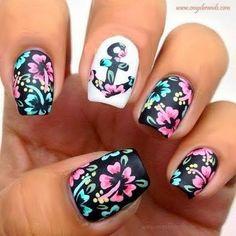 Inspirational floral nail art design fashion