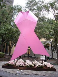 Giant pink ribbon on the corner of 5th and Market, downtown Louisville, KY