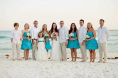 """THIS blue and the pink.. I LOVE it ! """"Thanks, David's Bridal for making our wedding day so wonderful! Everyone loved their dresses!"""" - DB Bride Somer W. with her bridal party wearing David's Bridal #bridesmaid dress Style 84091 in Malibu."""