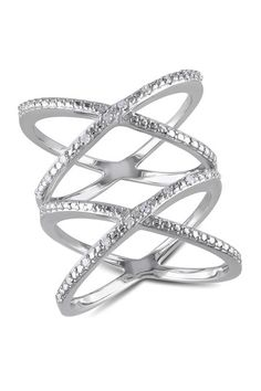 Sterling Silver Diamond Double Crisscross Ring