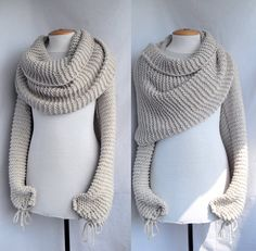 Bolero shawl scarf with sleeves at both ends in light by vinevirak, $79.00