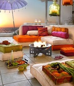 terrac, fire pits, outdoor living, beach living, outdoor patios, at the beach, deck, bright colors, parti