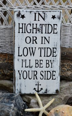 Beach Decor, In High Tide Or Low Tide, Wood Hand Painted Sign, Anchor Sign, Nautical, Beach Wedding, Coastal Decor, Rustic on Etsy, $28.00