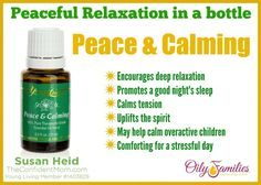 Encourage deep relaxation, a good night's sleep and lift your spirit at the same time.  Young Living Peace and Calming.  | TheConfidentMom.com