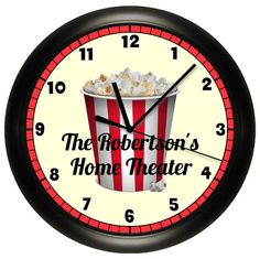 Personalized HOME THEATER Wall Clock Movie Game Room by cabgodfrey, $14.99