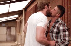 Gay kiss gif of Colby Keller kissing Dato Foland as he undresses him. After both guys are completely naked, Cobly turns Dato around and fucks him up the ass against that brick wall.