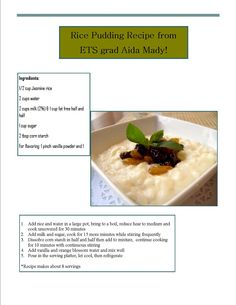 Savory rice pudding recipe from ETS graduate Aida Mady!