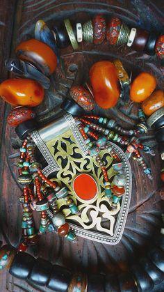 Treasured Turkoman Asyk pendant amber resin and by MorningDove, $345.00