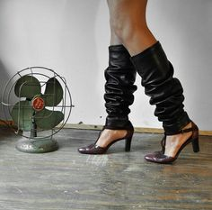 Black Leather Leg Warmers Size Large by Altarclothing on Etsy, $65.00  Hmm...what do I think of leg warmers - leather or otherwise - with heels?!?