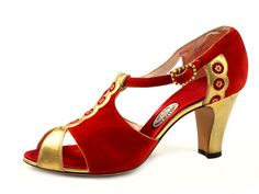 1930s I. Miller Red velvet flapper style shoes with gold leather decoration.