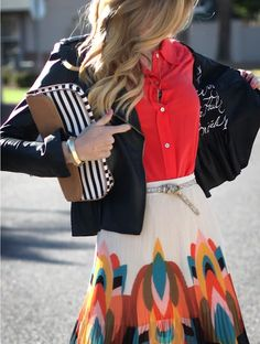 mixing patterns, cloth, style, skirts, color combos, spring colors, outfit, color patterns, stripe