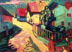 Wassily Kandinsky - The Road to Murnau, 1909 modern art, murnau, wassili kandinski, wassily kandinsky, kandinski 1909, the road, roads