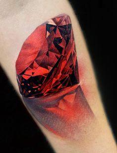 Realistic ruby tattoo on arm. Red jewel. By Matt Jordan of Ship Shape tattoos, Auckland, NZ. (https://www.facebook.com/shipshapetattoonz/photos_stream ) diamond tattoo