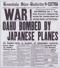 Hawaii Sunday morning and many military personnel have been given passes to attend religious services off base. At 0755 a Japanese dive bomber bearing the red symbol of the Rising Sun of Japan on its wings appears out of the clouds above the island of Oahu. A swarm of 360 Japanese warplanes followed, descending on the U.S. naval base at Pearl Harbor in an unprovoked assault. A total of 2,400 Americans were murdered,1,200 were wounded. The attack brought America into World War 2.