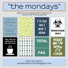 "Free ""The Mondays"" Pocket Scrapping Filler Cards"