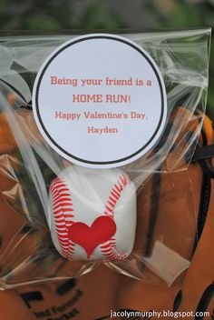"""Home Run Valentine - love this one more than the ones I made for Thomas.  We put - You are a """"BALL"""" Valentine - or you can put - Have a """"BALL"""" Valentine."""