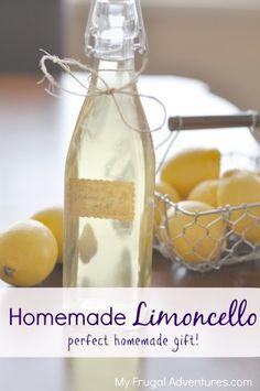 Homemade Limoncello Recipe- so easy and a perfect homemade gift idea!