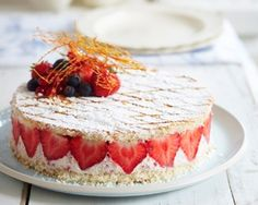 Instant strawberry gateaux recipe - take a look at this short cut to a professional-looking cake in minutes cake, james martin recipes, instant strawberri, strawberri recip, cook dessert, bake, food, strawberries, jame martin