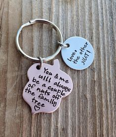 Wedding Gift Ideas For My Brother : ... ://www.etsy.com/listing/165920088/hand-stamped-acorn-keychain-brother