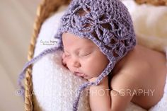 Crochet Pattern for Mohair Ella Baby Bonnet Hat - 5 sizes, preemie/doll to toddler - Welcome to sell finished items