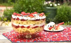 Punch Bowl Cake  better with just yellow cake, instant pudding, strawberries, pecans and whipped topping.
