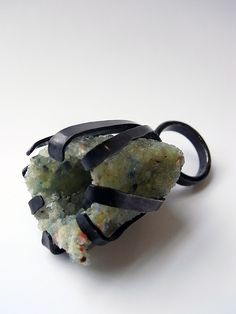 big claw ring in oxidized silver with crushed stone cluster by Kelvin J Birk