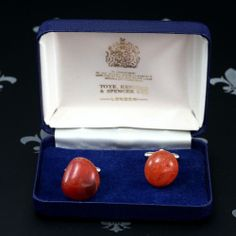 T. KENNING SPENCER Vintage Gents Lady Cufflinks Orange Natural Stones Orig. Box