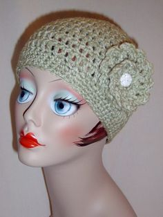 Handmade Adult Crochet Hat with Flower in Sweet Pea Green 25 more Colors to Choose From $20