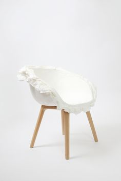 White and wood chair