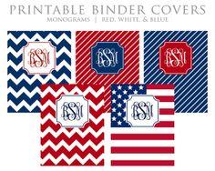 Printable Binder Covers - Monogram - Chevron - Stripes - Flag - Red, White, Blue