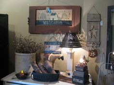 Hand made country primitive decor for your home.  Available @ www.gainerscreekcrafts.com