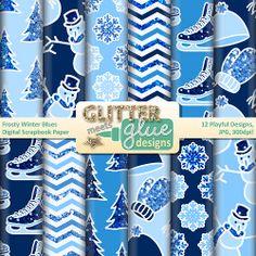 Frosty Winter Blues Digital Scrapbook Paper Clipart #snowman #winter #clipart #edu #teacherspayteachers #tpt