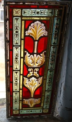 VICTORIAN STAINED & PAINTED LEADED GLASS WINDOW PANEL