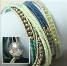 DIY Herringbone Wrap Bracelet- Spearmint    by Nicole Anderson   In this amazing video project, Nicole demonstrates how to master the herringbone weave stitch using Chinese knotting cord around leather. As you watch the video, you will learn this century?s old stitch as well as how to ladder gems with KO Thread into a five wrap bracelet
