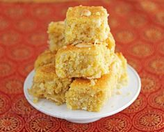 """Coconut """"Semolina"""" Cake made w/ corn flour from @Jeanette Lai Thomas 
