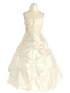 Ivory Pick Up Long Flower Girl Dress