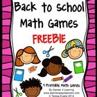 Back to School Math Games Freebie by Games 4 Learning  This collection of back to school math games contains 4 printable games that review a variet...