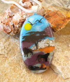 African Inspired Glass Necklace  Safari Pendant Image by GlassCat, $32.00