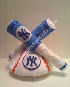 Yankees Baseball Diaper Cake from BabyFavorsAndGifts.com