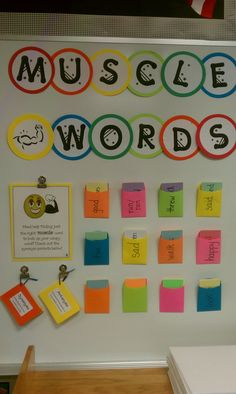 """Designate a """"muscle words"""" section on your bulletin/white board to bulk up wimpy word choice in student's writing with stronger, more creative synonyms! (As a class, brainstorm alternative choices for basic, overused words in writing...such as happy, run, walk, etc. and put them on index cards in a pocket labeled with that word.) Mine are on removable velcro tabs so they can remove them and take them back to their seat as they work!"""
