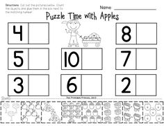 Apple themed reading and math activities for Kindergarten... perfect for September! appl theme, kindergarten apple activities, printable number play doh mats, number match, baker